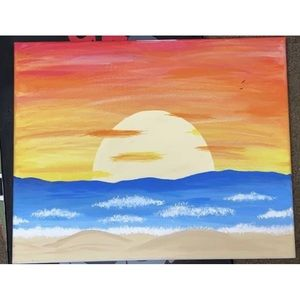 A homemade painting of a sunset